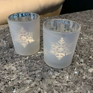White Barn Dancing Snowflakes Candle Holders x 2